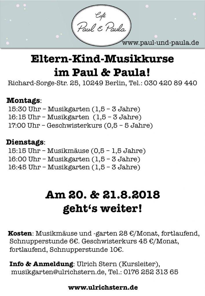 Ulrichs neue Eltern-Kind Musikkurse im Paul und Paula ab 20.8.2018